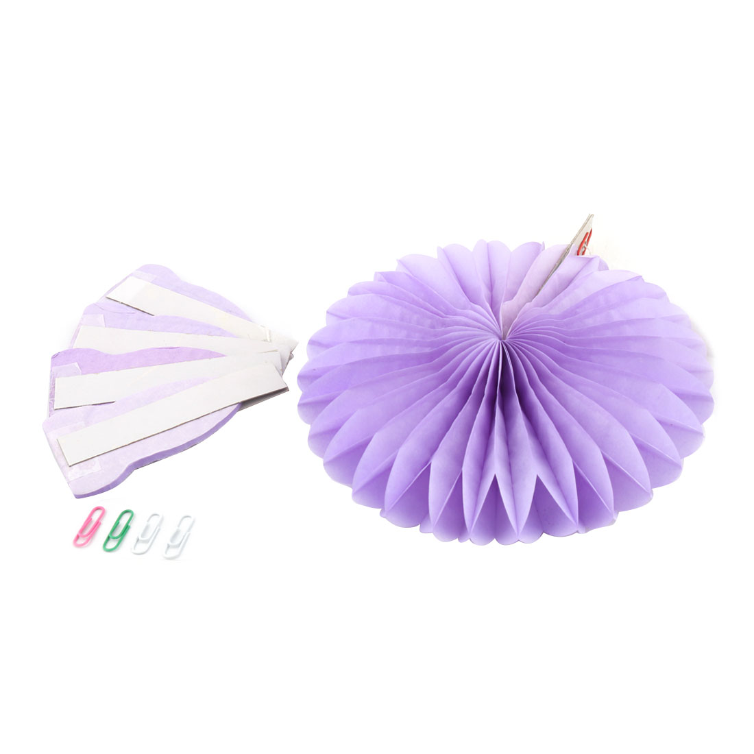 Tissue Paper Wedding Party Hanging Decoration Wheel Fan Honeycomb Flower Light Purple 5pcs