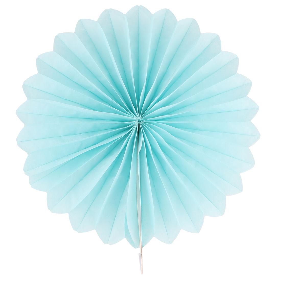 Tissue Paper Folding Fan Flower Blue for Party Birthday Window Wedding Home Decor