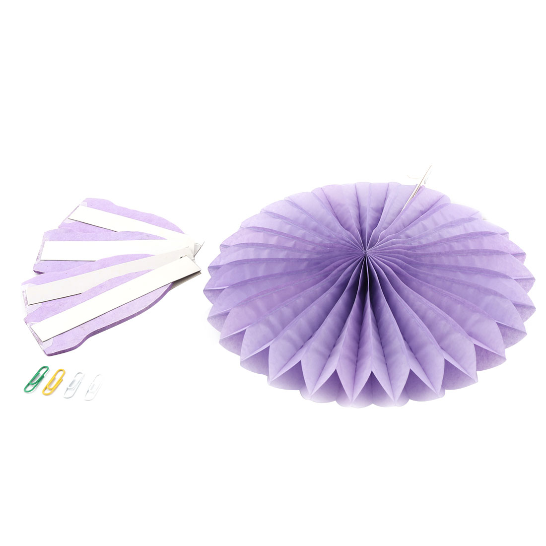 Tissue Paper Folding Fan Flower Light Purple 5pcs for Party Birthday Window Wedding Home Decor