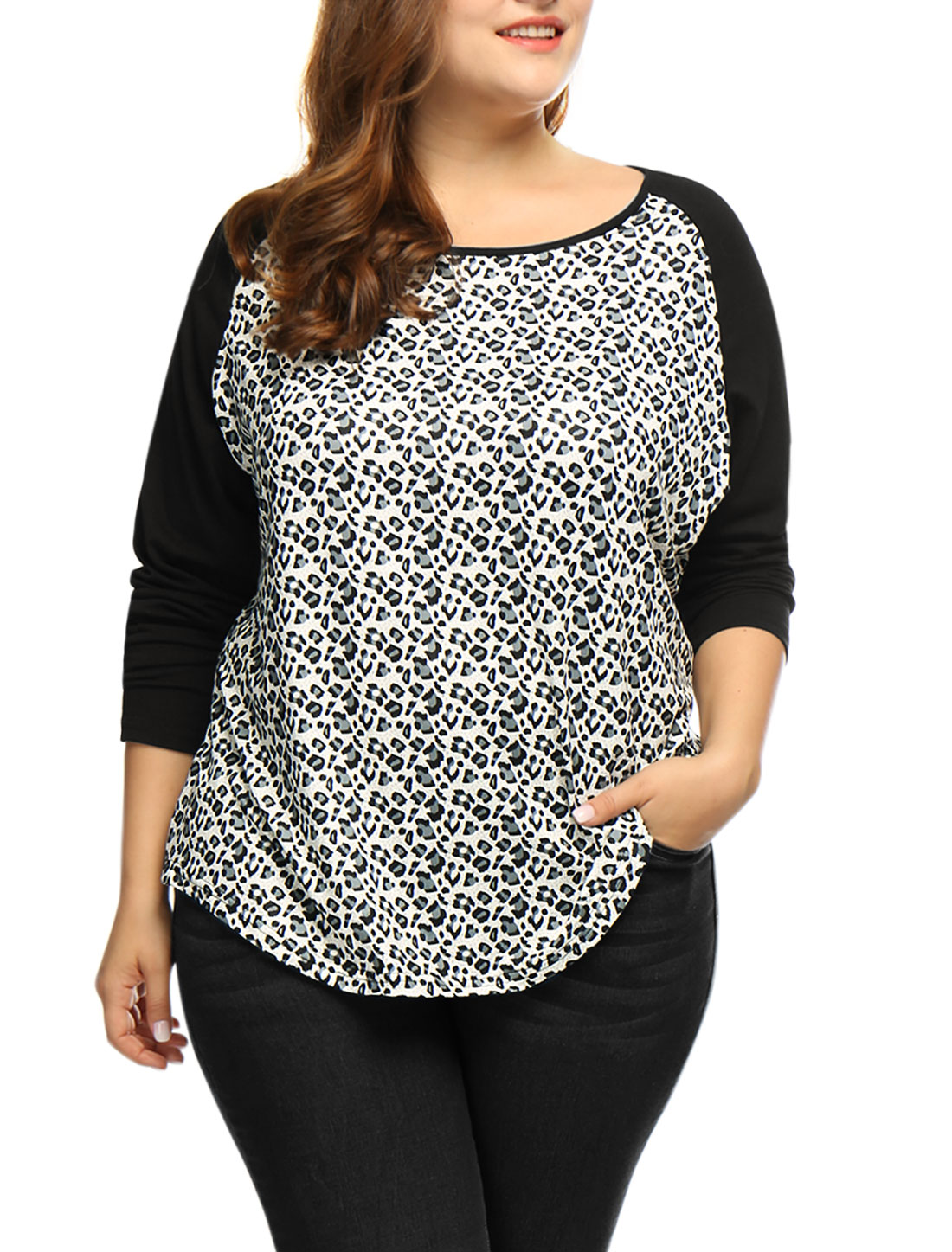 Women Plus Size Scoop Neck Leopard Print Raglan T-Shirt Black 1X