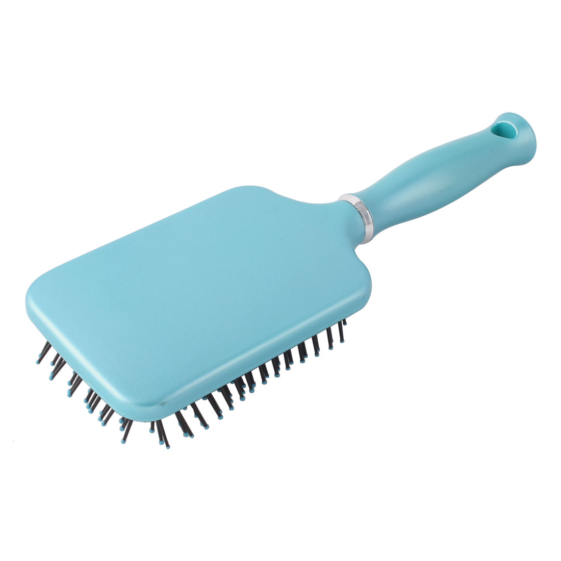 Salon Plastic Rectangle Shape Anti-static Curly Straight Hair Style Comb Sky Blue 25cm Length