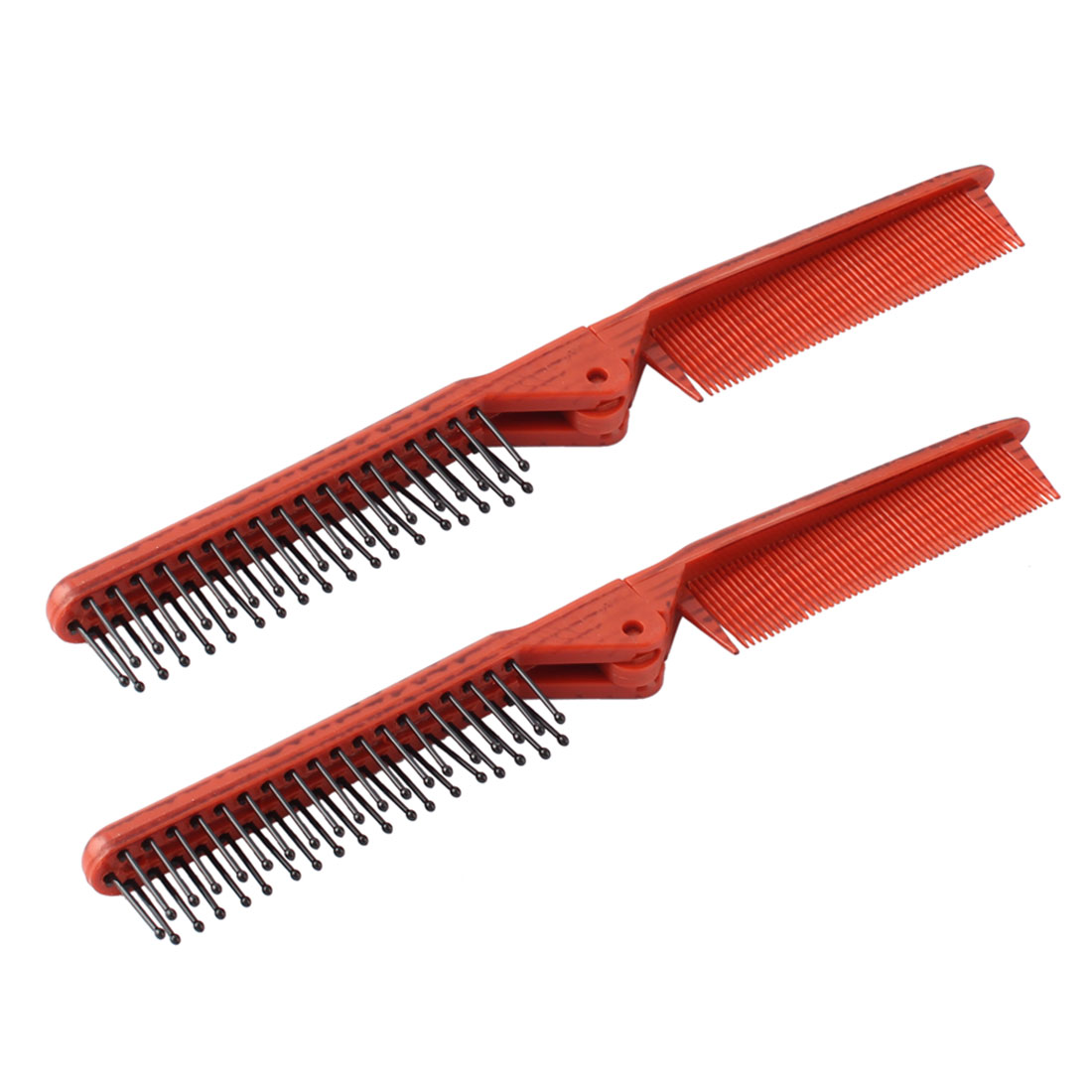 Home Salon Plastic Double Heads Folding Anti-static Hair Styling Comb Dark Red 2 Pcs