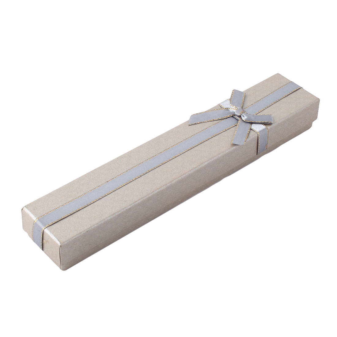 Holiday Cardboard Rectangle Shape Bowknot Decor Choker Necklace Case Bracelet Gift Box Silver Tone