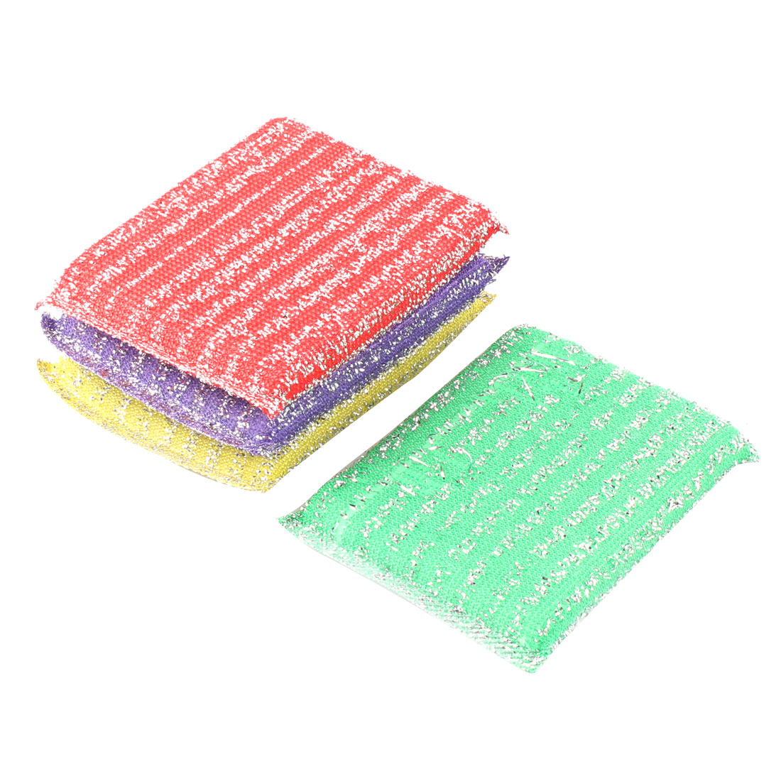Kitchenware Sponge Rectangle Shape Dishing Cleaning Tool Scrubber Pad Assorted Color 4 Pcs