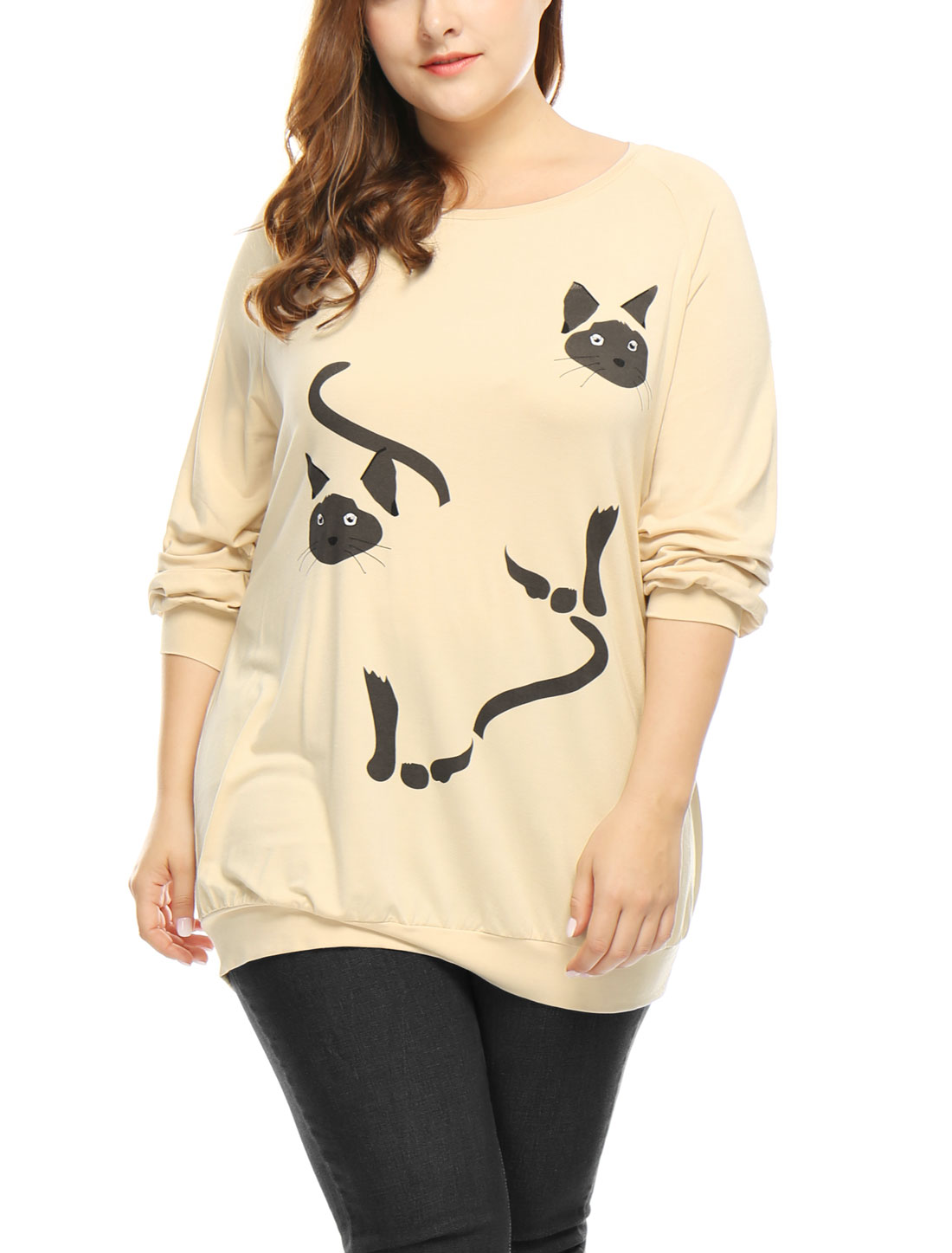 Women Plus Size Cats Print Raglan Sleeves Slouchy Tunic Top Beige 3X