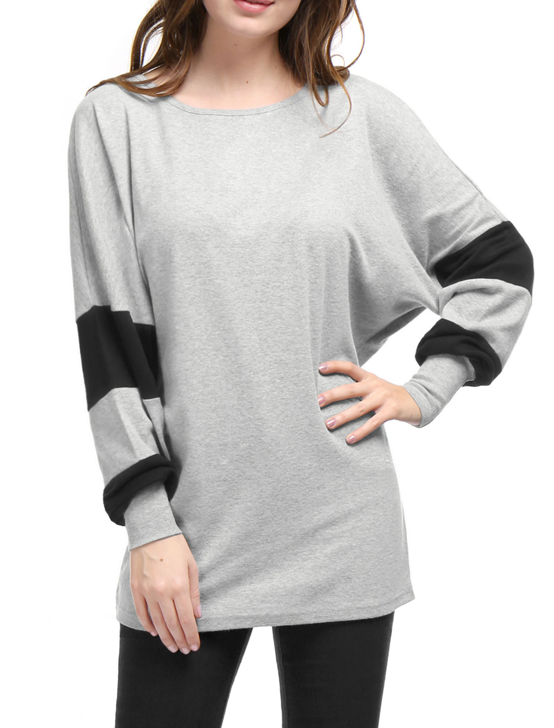 Women Color Block Batwing Sleeves Loose Tunic Top Light Gray S