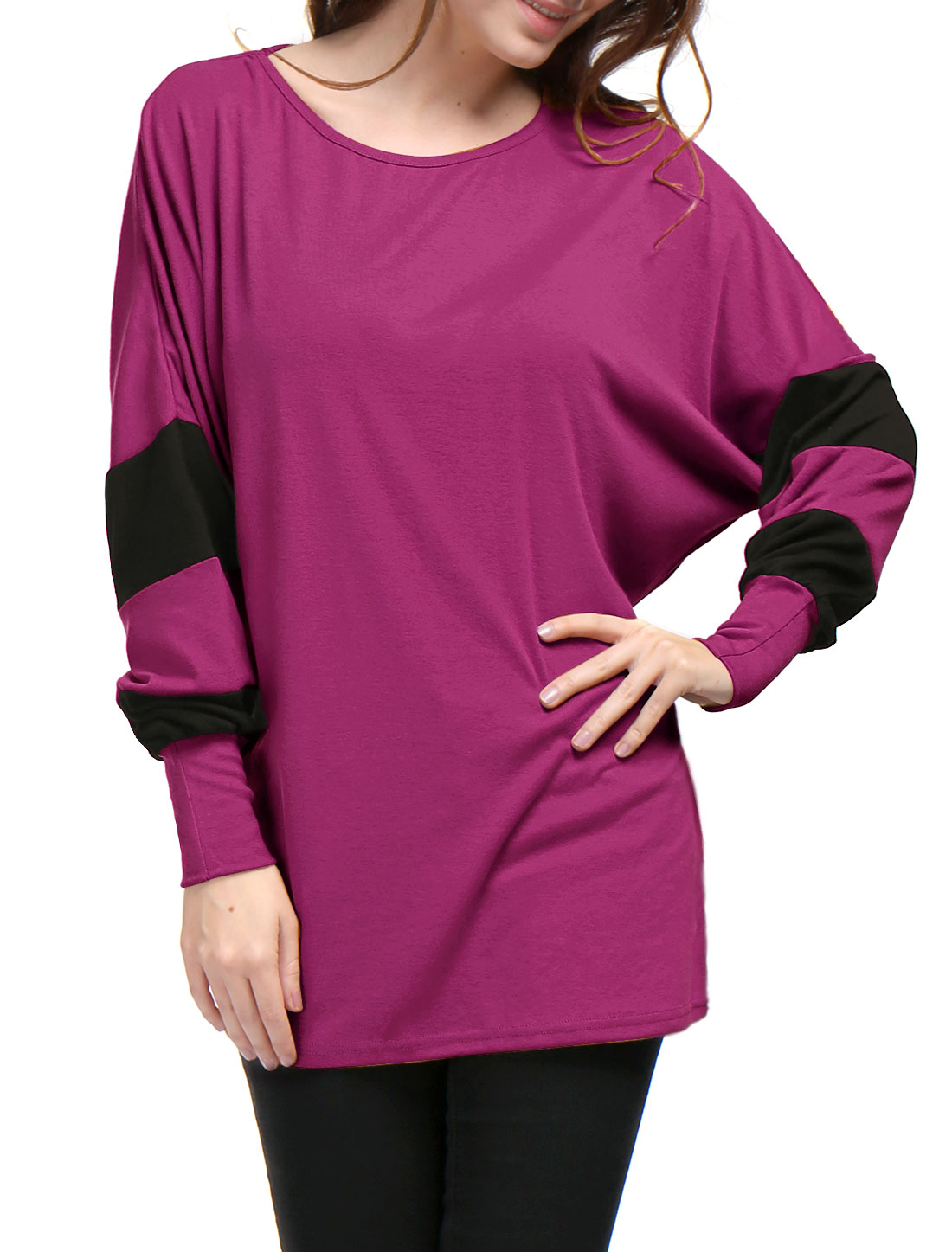Women Color Block Batwing Sleeves Loose Tunic Top Purple L