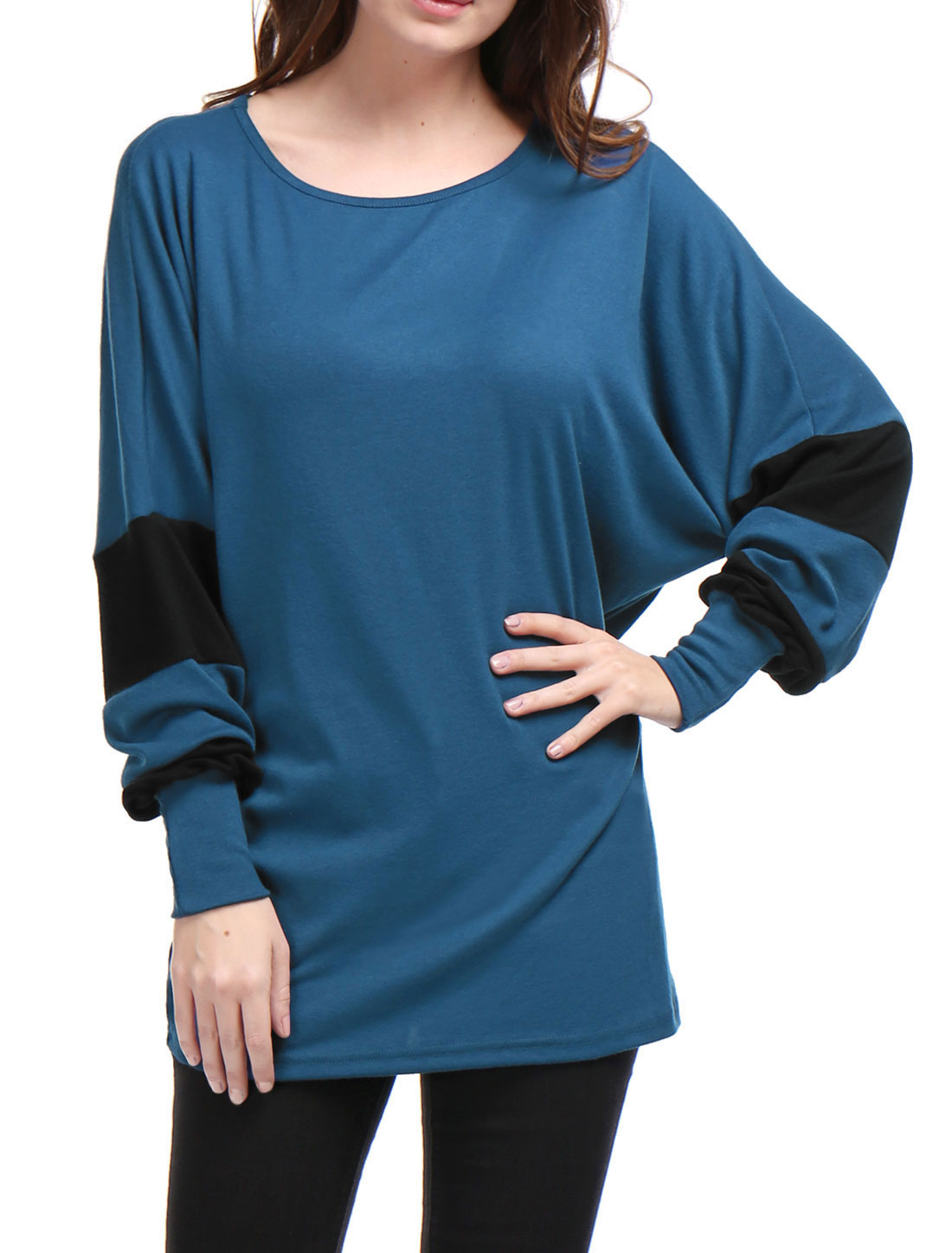 Women Color Block Batwing Sleeves Loose Tunic Top Blue S