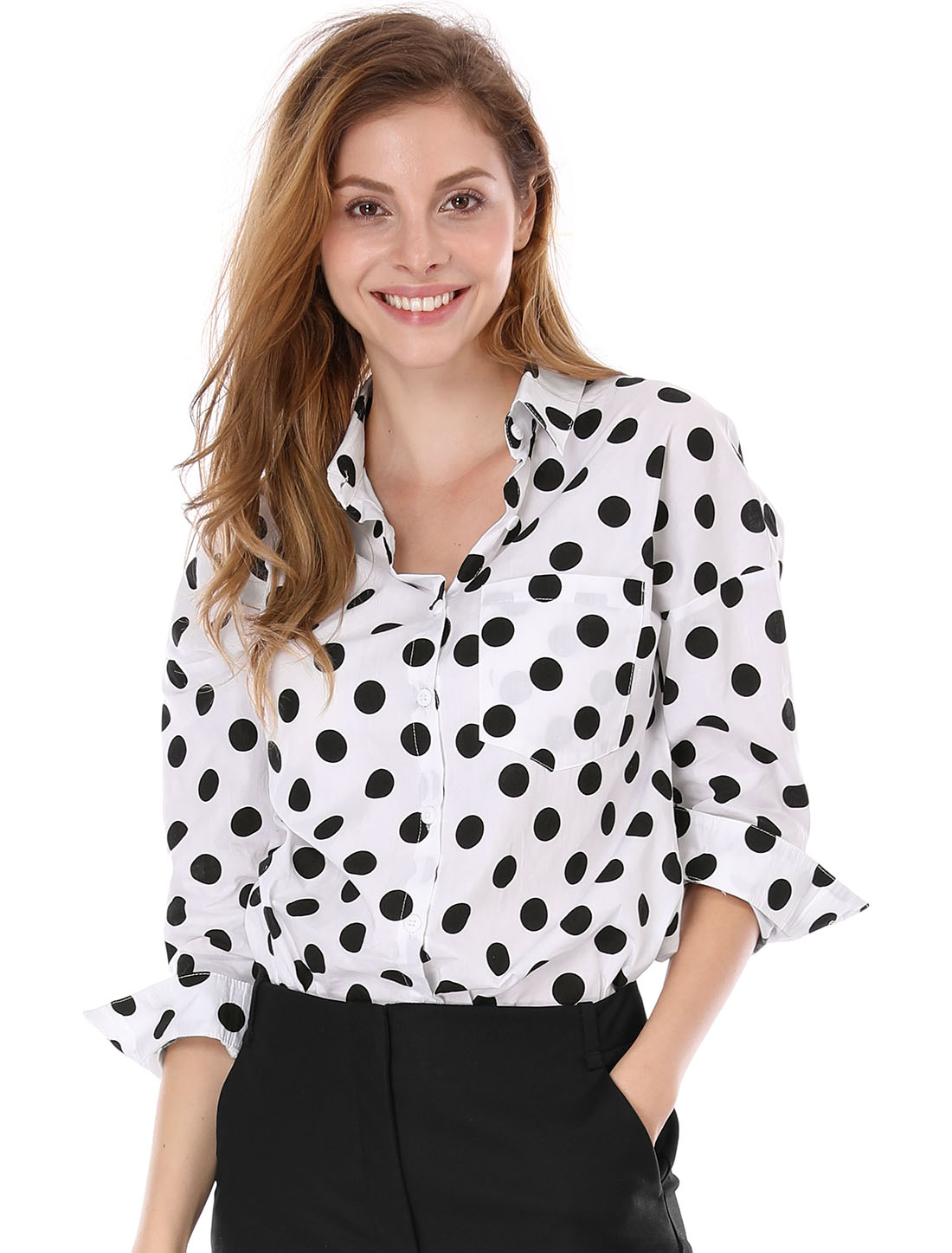 Women Long Sleeves Button Front Polka Dot Cotton Tunic Shirt White M