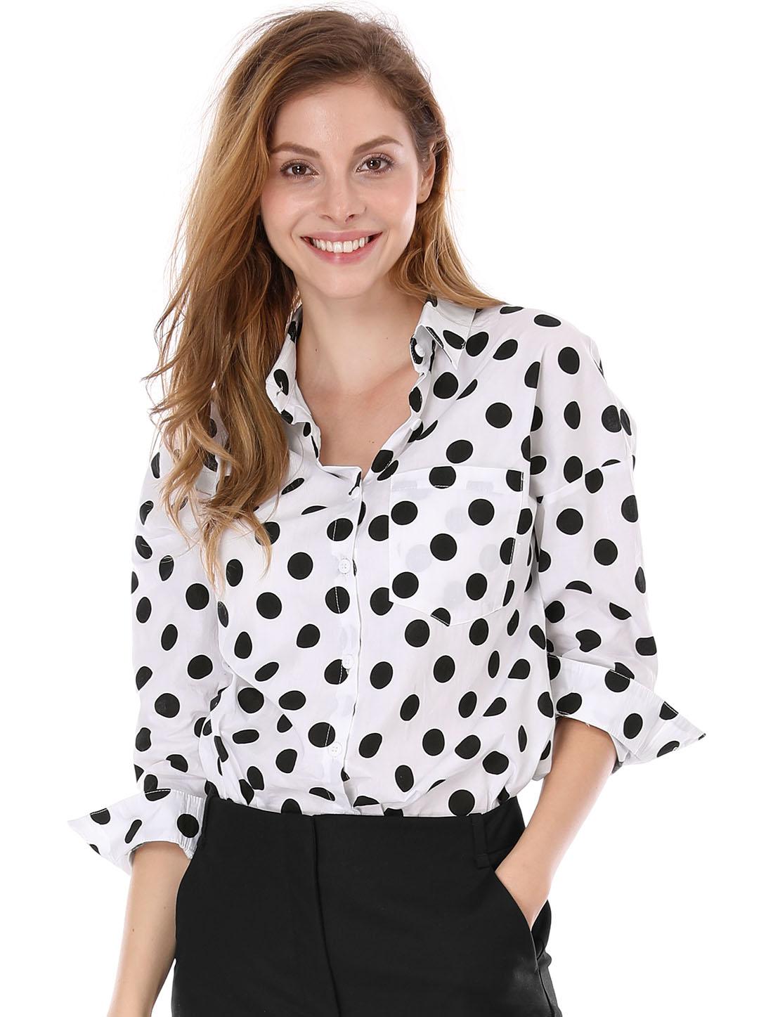Women Long Sleeves Button Front Polka Dot Cotton Tunic Shirt White L