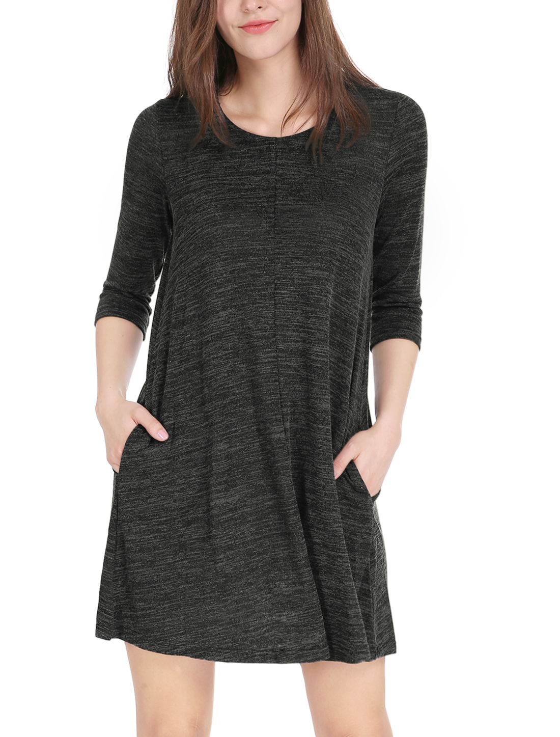 Women 3/4 Sleeves Round Neck Above Knee Loose T-shirt Dress Black XS