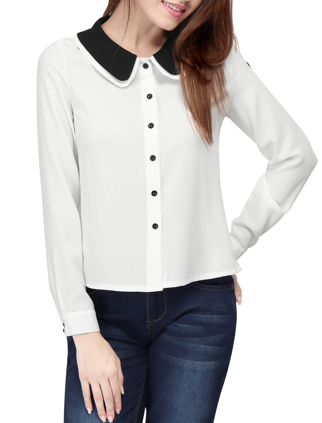 Women Double Contrast Collar Curved Hem Chiffon Button Up Blouse White S