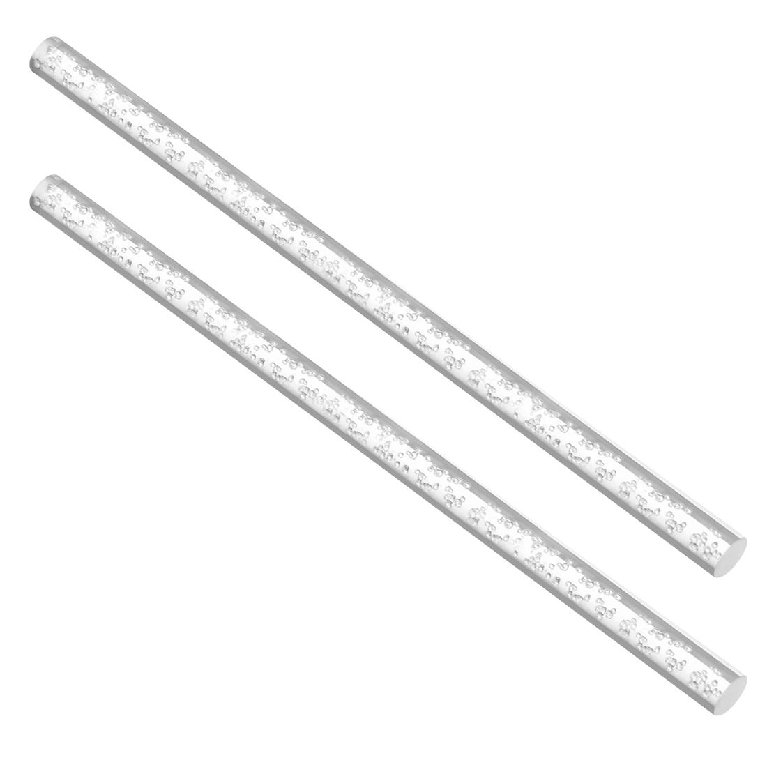 10mm Dia 250mm Long Air Bubble Acrylic Rod PMMA Circular Bar Clear 2pcs
