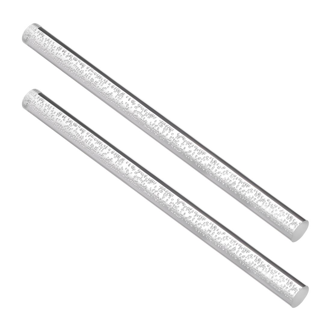 15mm Dia 250mm Long Air Bubble Acrylic Rod PMMA Circular Bar Clear 2pcs