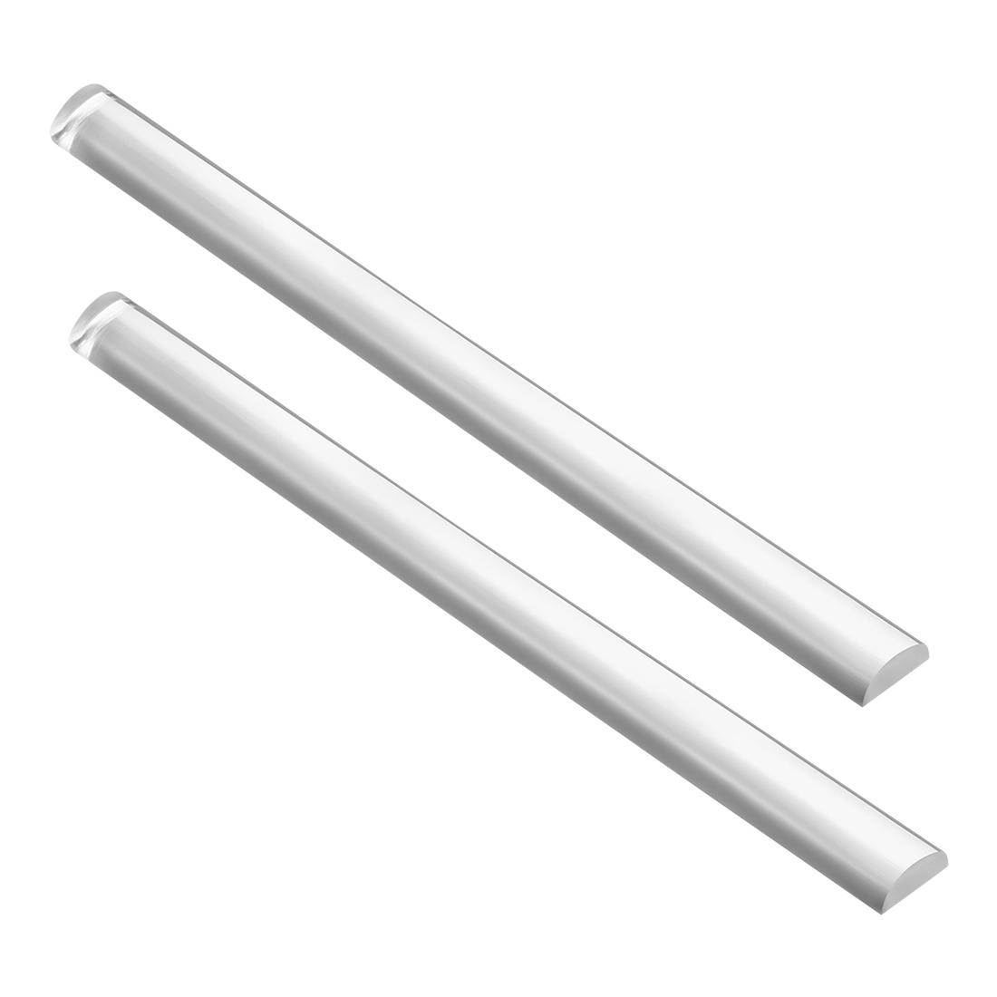 "20mmx10mm 10"" Long Solid Acrylic Half Round Bar PMMA Rod Clear 2pcs"