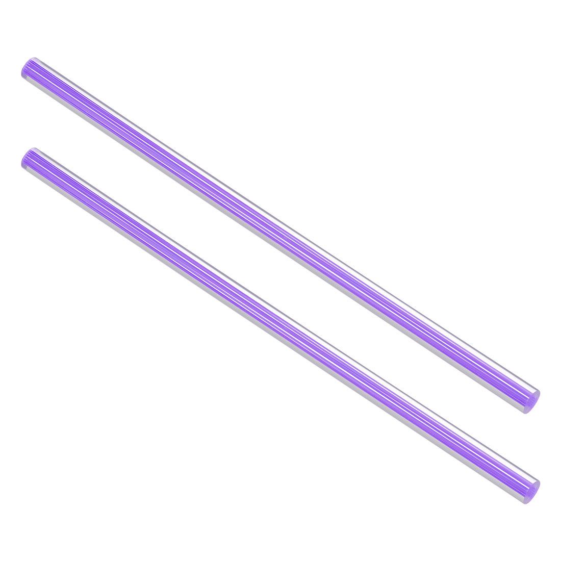 10mmx250mm Straight Light Purple Line Solid Acrylic Round Rods PMMA Bars 2pcs