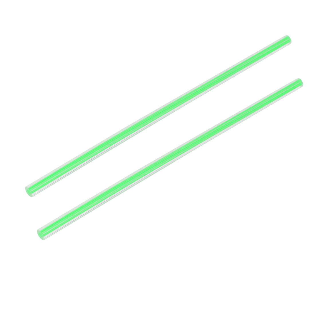 Straight Green Line Solid Acrylic Round Rod PMMA Bar 250mmx8mm 2pcs