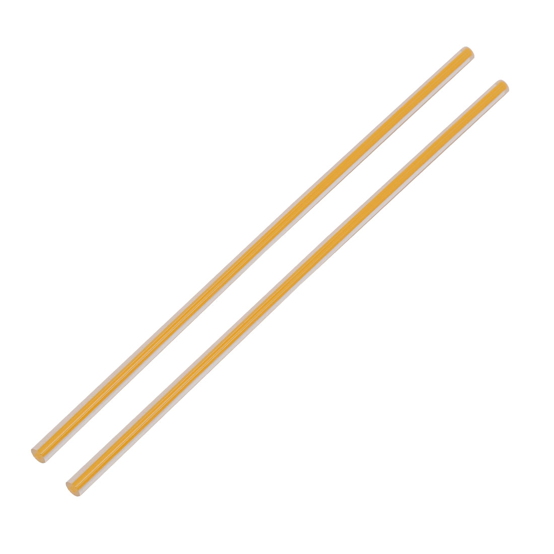 Straight Yellow Line Solid Acrylic Round Rod PMMA Bar 250mmx6mm 2pcs
