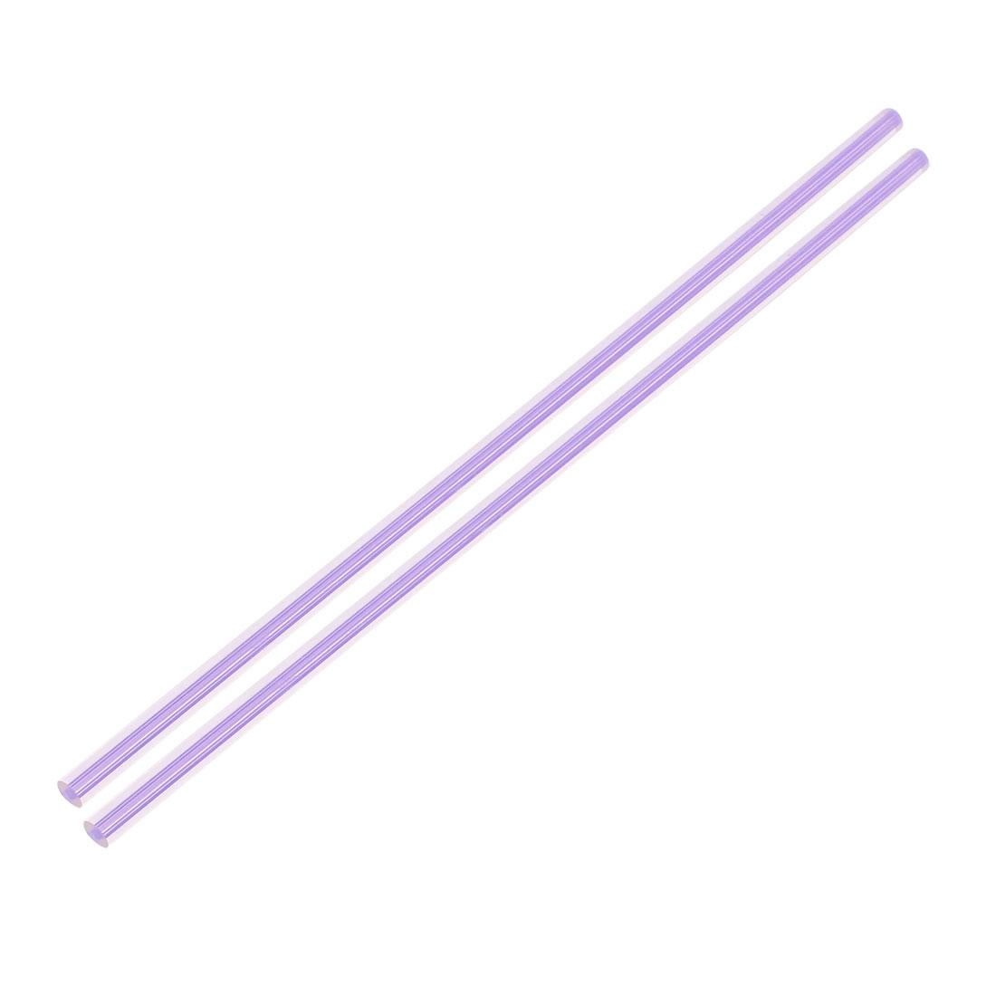 6mmx250mm Straight Light Purple Line Solid Acrylic Round Rods PMMA Bars 2pcs