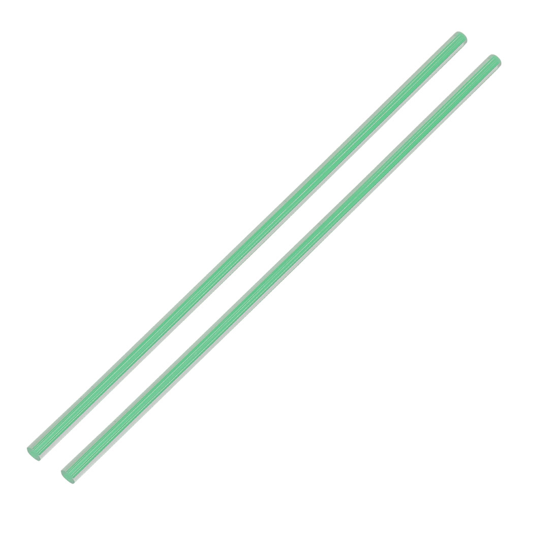 Straight Green Line Solid Acrylic Round Rod PMMA Bar 250mmx6mm 2pcs