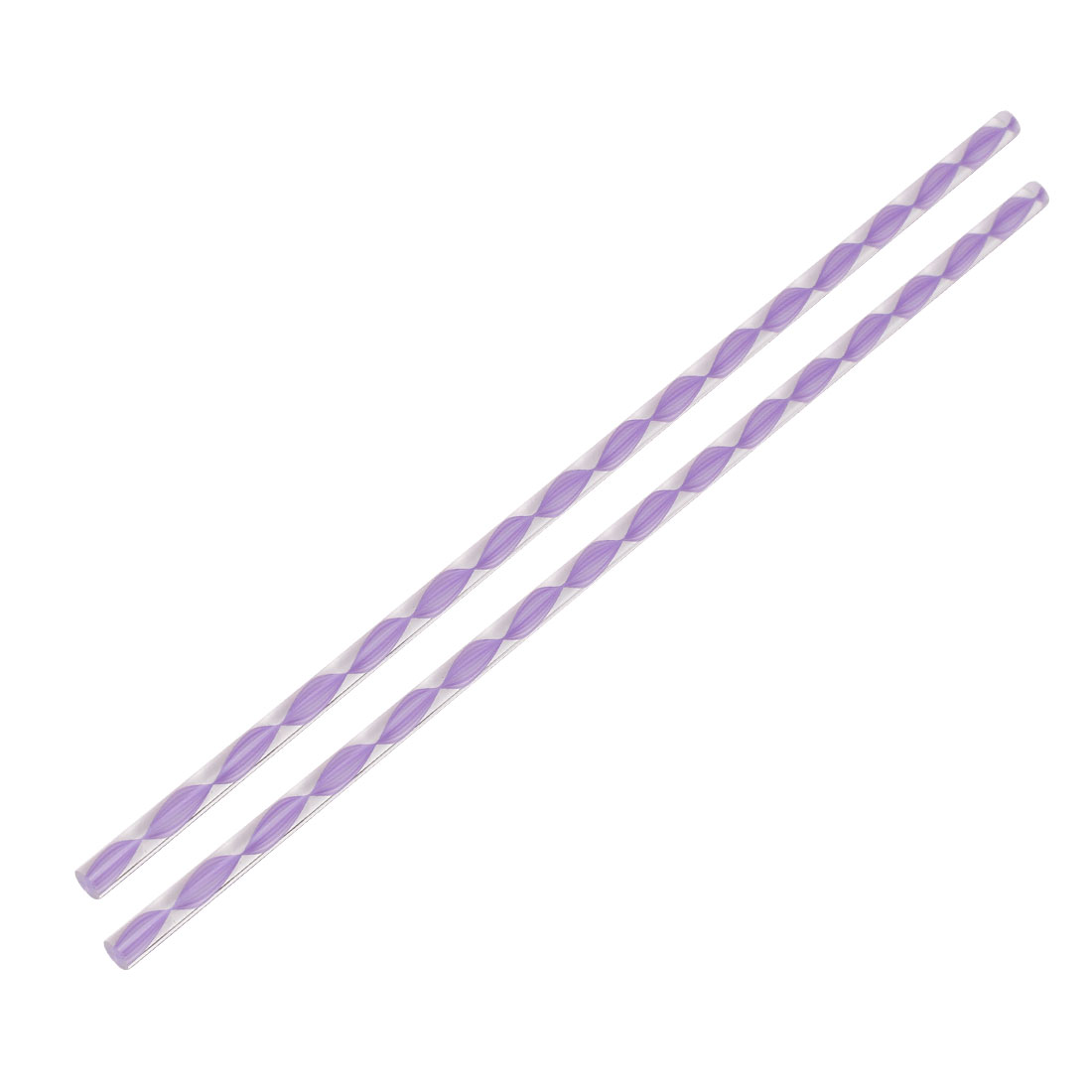 Twisted Light Purple Line Acrylic Round Rod PMMA Bar 250mmx6mm 2pcs