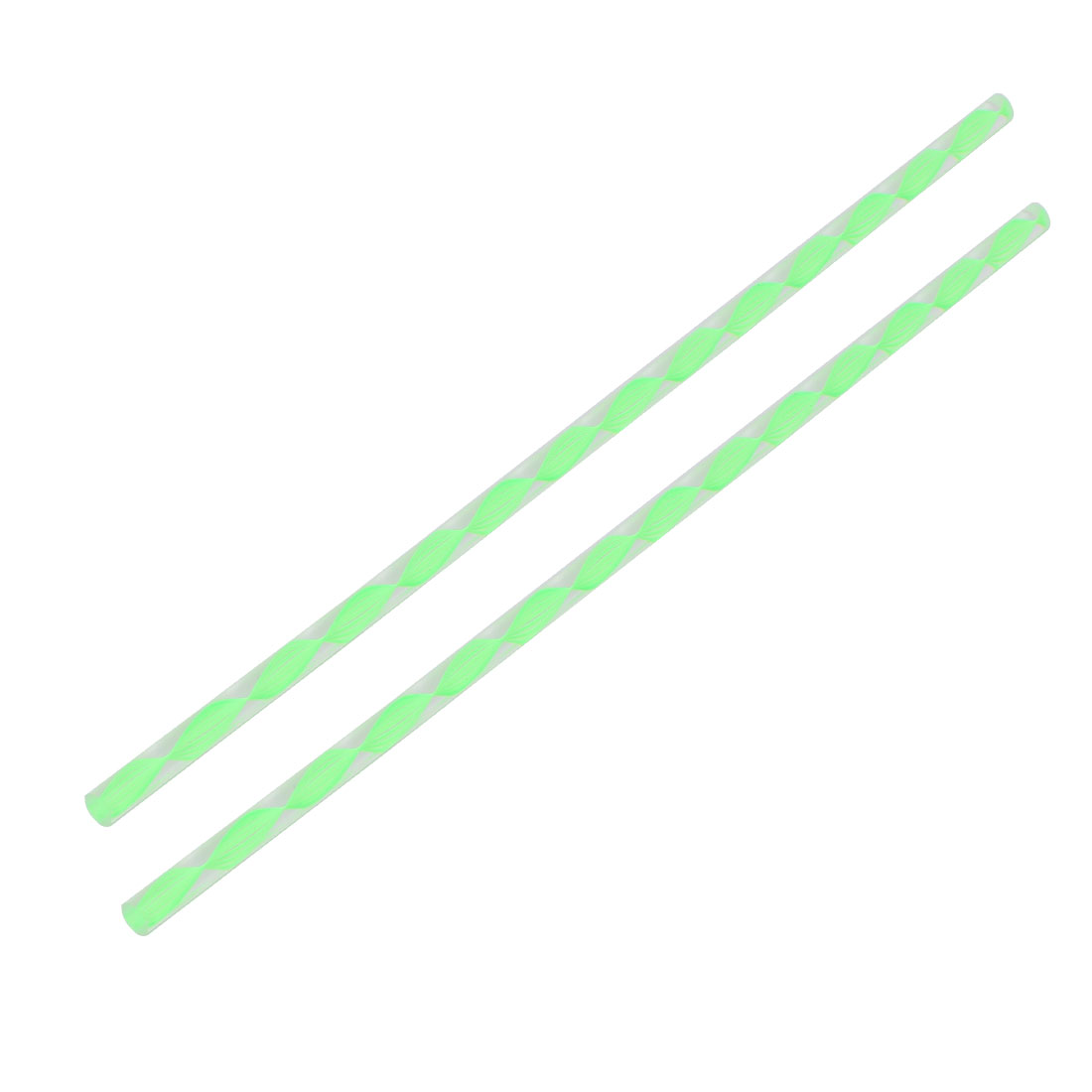 Twisted Green Line Solid Acrylic Round Rod PMMA Bar 250mmx6mm 2pcs