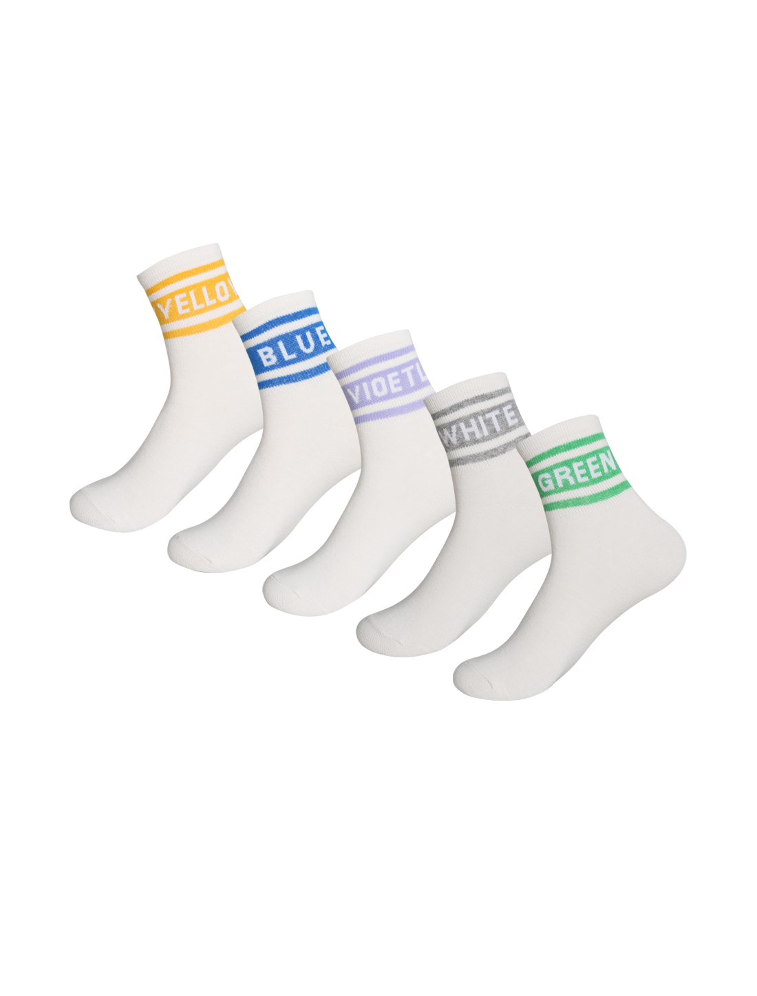 Women 5 Pack Cotton Blend Letters Crew Socks White 9-11