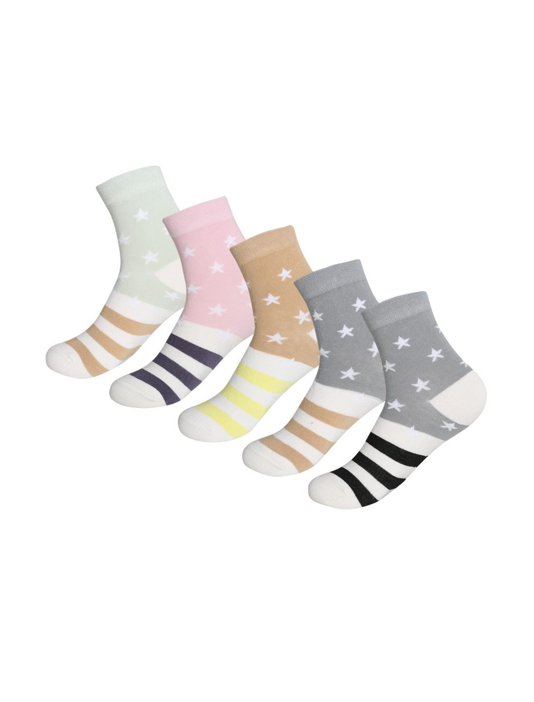 Women 5 Pack Cotton Blend Stripes Stars Crew Socks Assorted 9-11