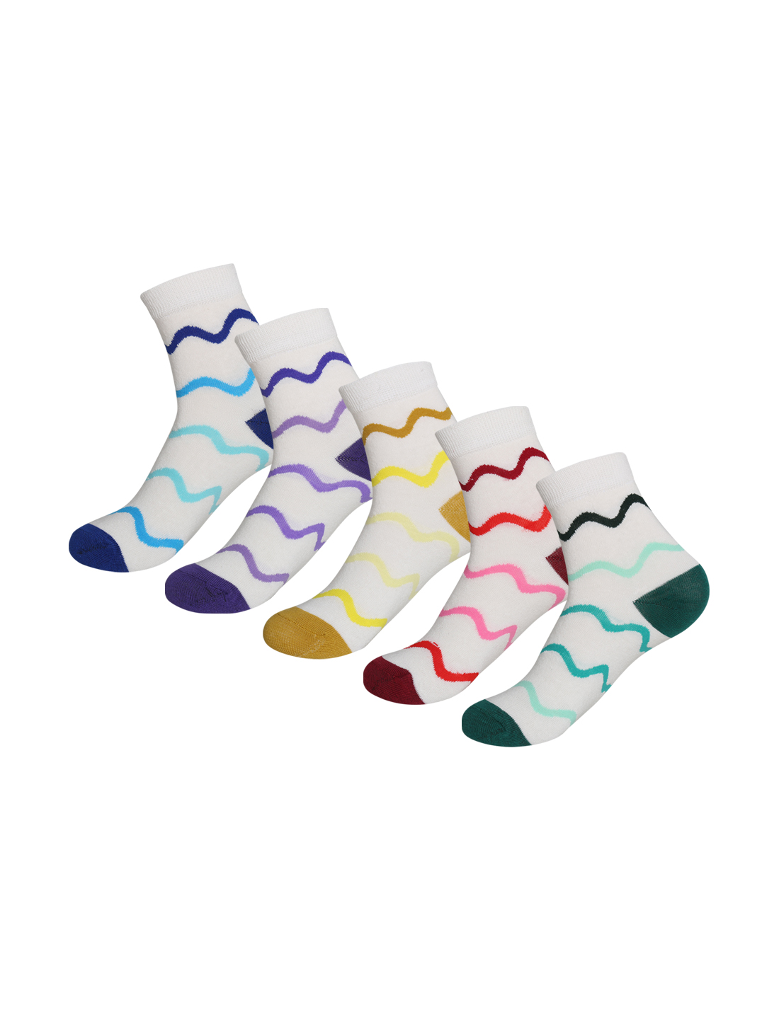 Women 5 Pack Cotton Blend Colorful Waves Crew Socks White 9-11