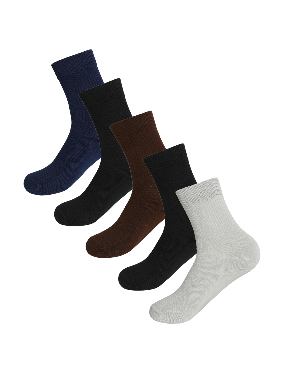 Men Warm Thick Thermal Stretchy Crew Socks 5 Pack 10-12 Assorted-Pure