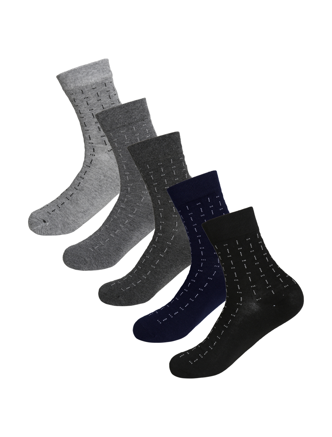 Men Dots Prints Warm Thermal Crew Socks 5 Pack 10-12 Assorted-Dots