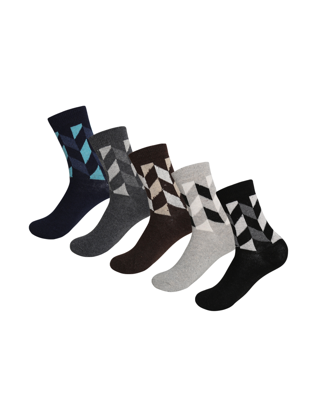 Men Argyle Prints Thermal Wool Crew Socks 10-12 5 Pack Assorted-Argyle