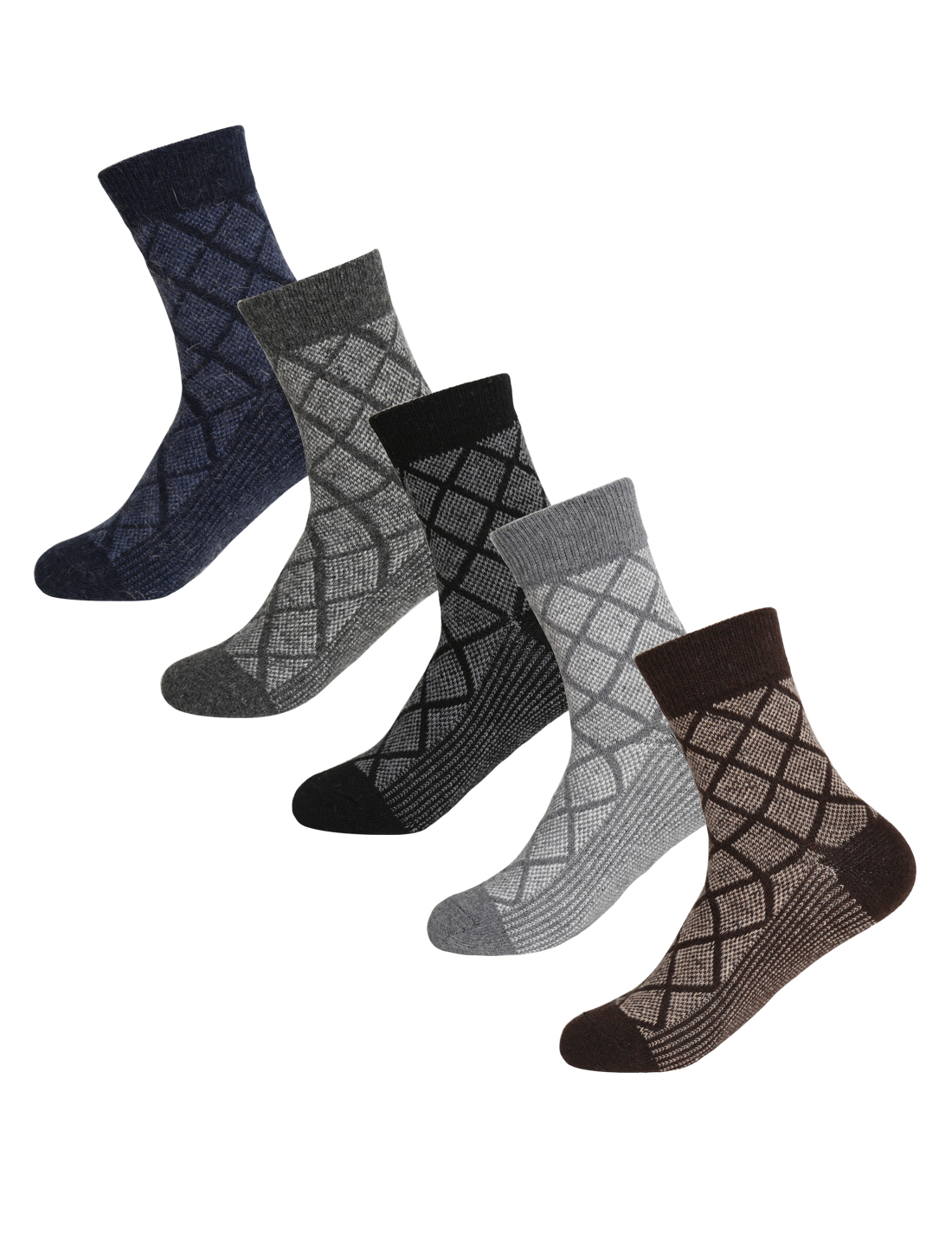Men 5 Pack Argyle Prints Thermal Wool Crew Socks 10-12 Assorted-Argyle