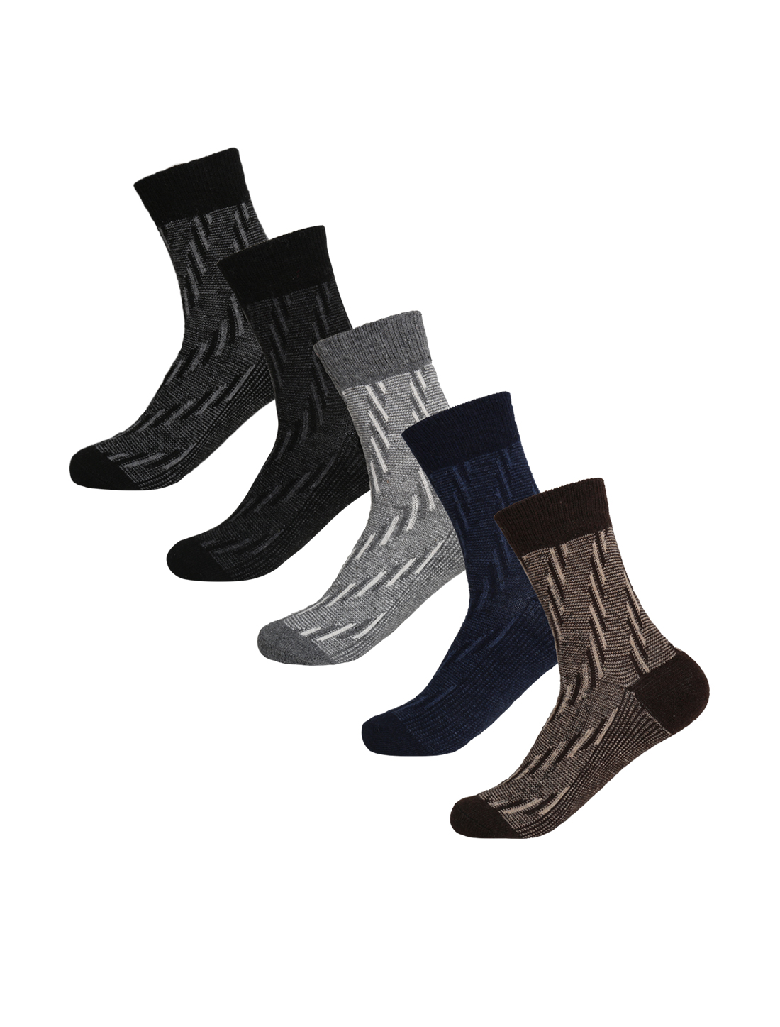 Men 5 Pack Stripes Pattern Thermal Wool Crew Socks 10-12 Assorted-Stripes