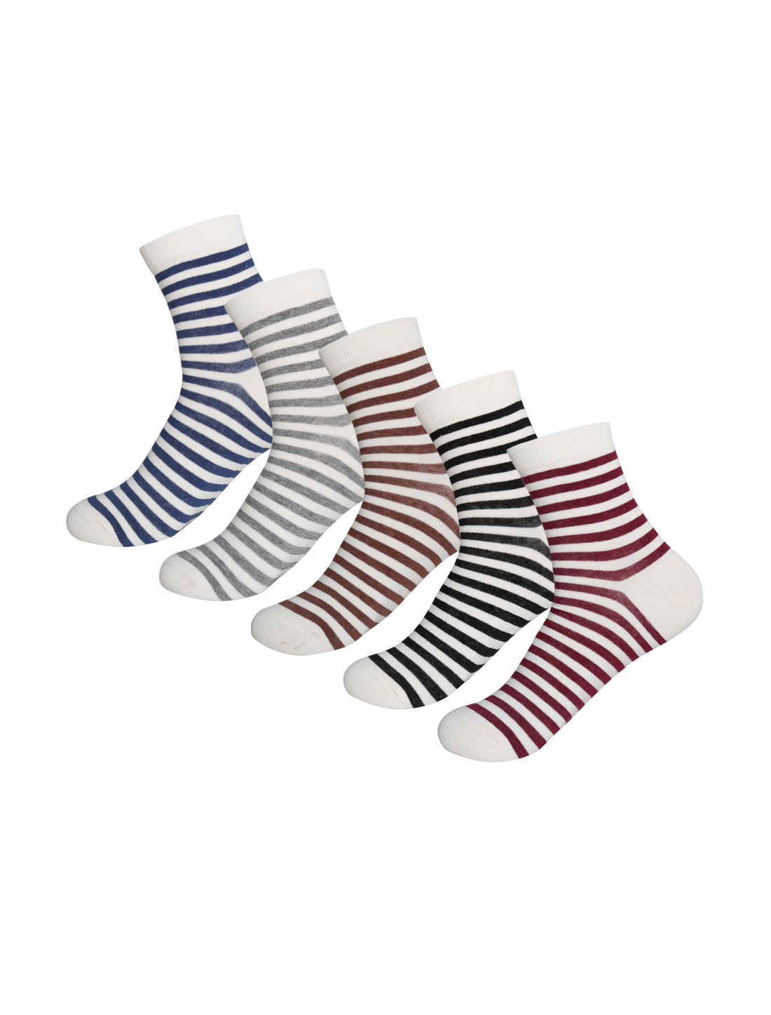 Men 5 Pack Stripes Pattern Thermal Crew Socks 10-12 Assorted-Stripes