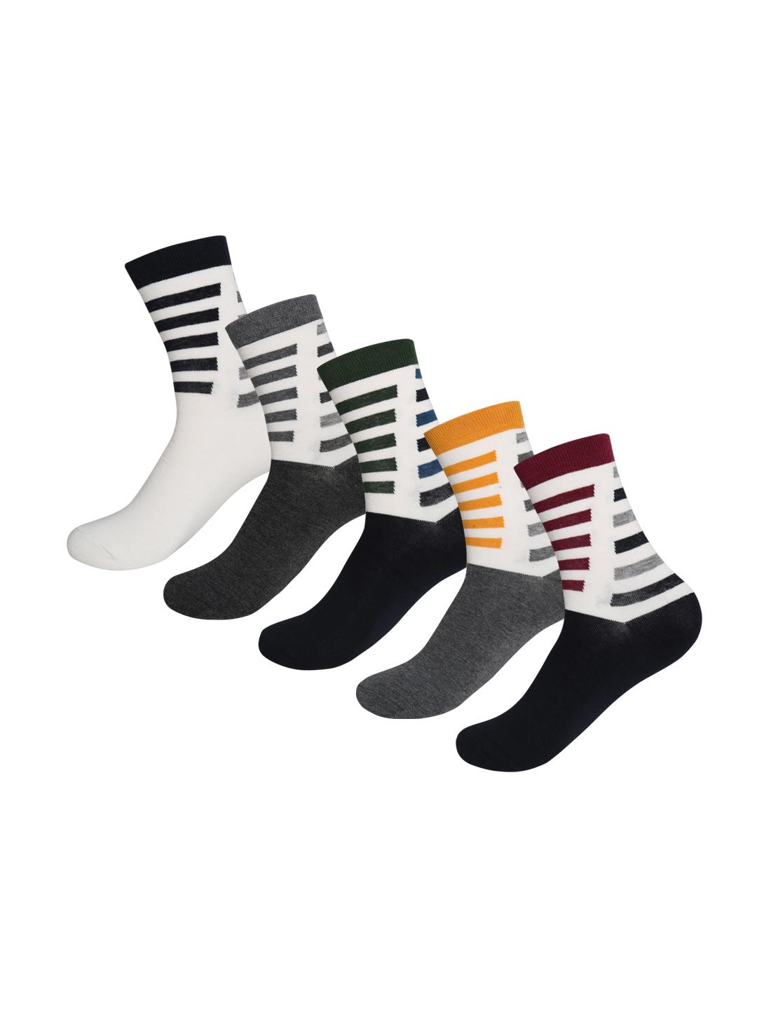Men 5 Pack Slash Stripes Pattern Thermal Crew Socks 10-12 Assorted-Slash