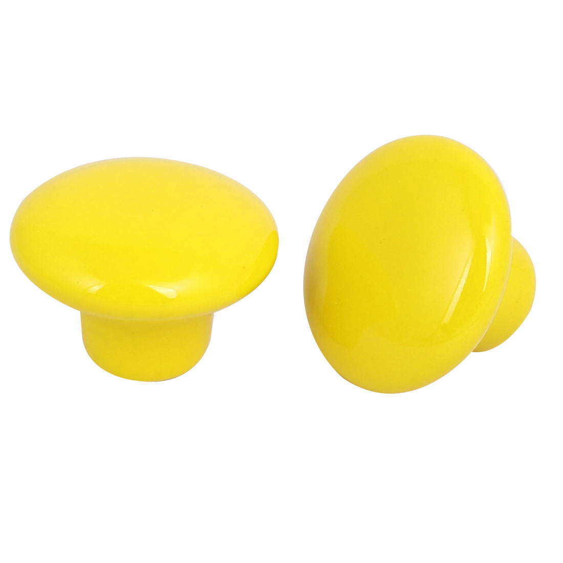 Wardrobe Drawer Ceramic Round Pull Handles Knobs Yellow 33mm Dia 2pcs