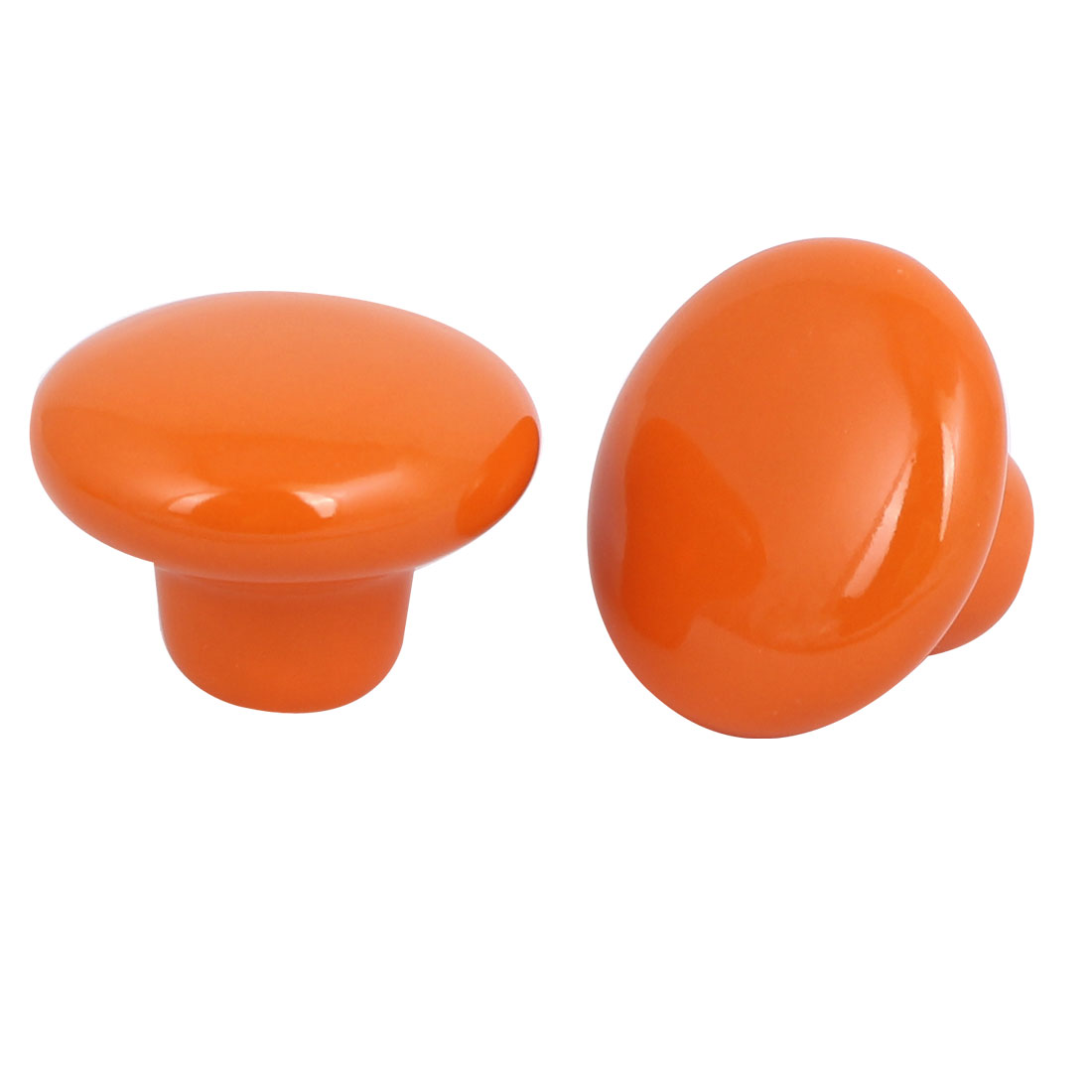 Wardrobe Drawer Ceramic Round Pull Handles Knobs Orange 33mm Dia 2pcs