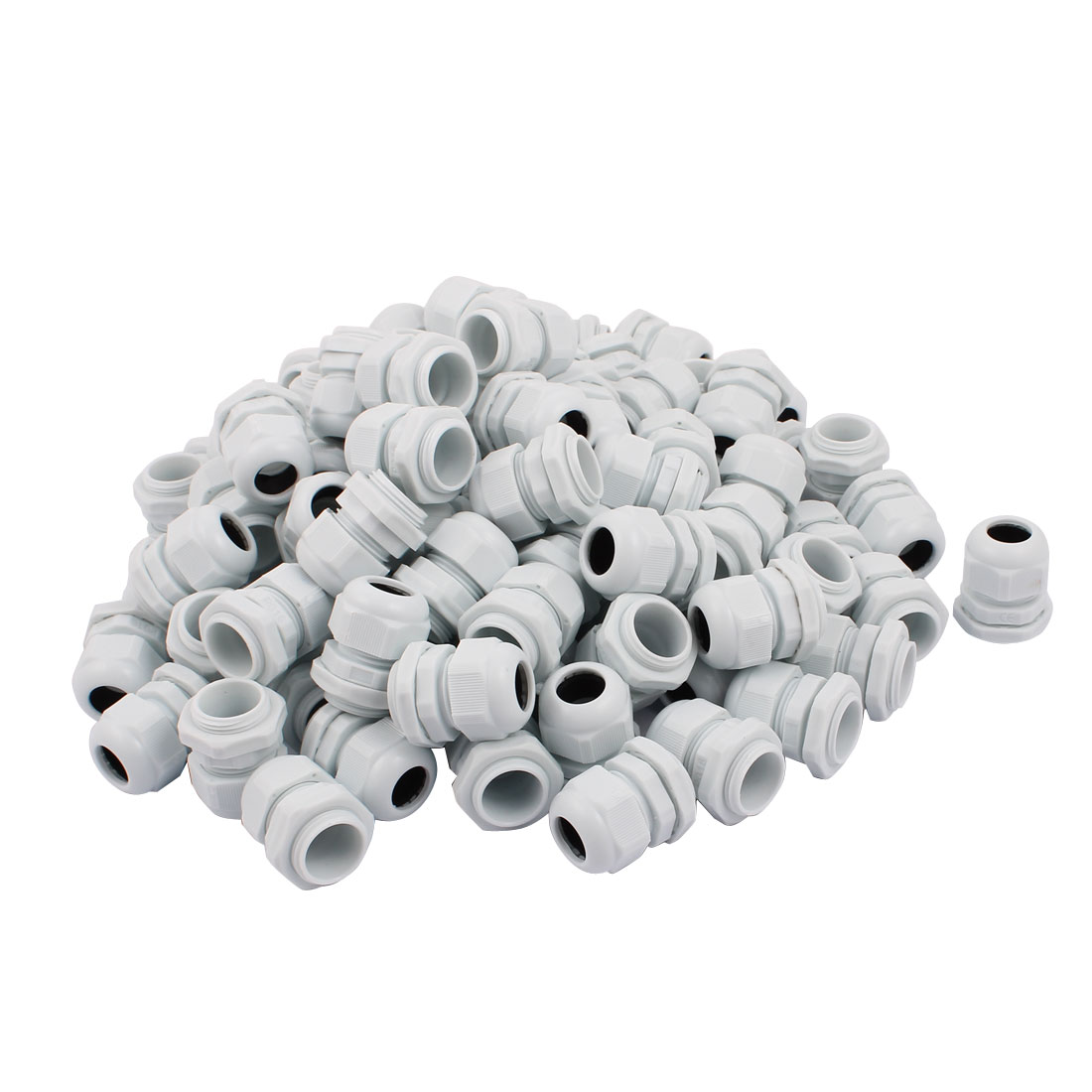 White Plastic PG16 Water Resistance Cable Gland Fixing Connector Joints Fastener 100 PCS