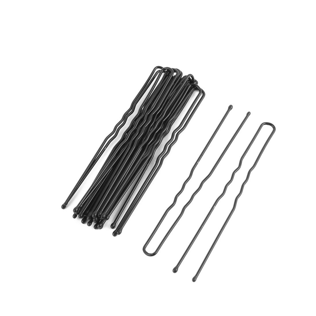 Women Metal U Shape Hairstyle Hair Clip Hairpin Black 7cm Length 18 Pcs
