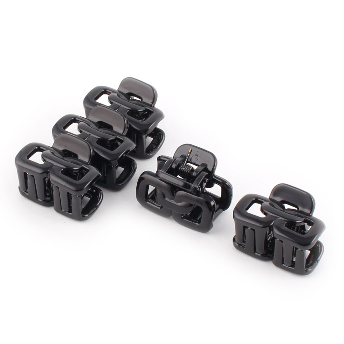 Plastic Spring Loaded DIY Hairstyle Hair Claw Clip Clamp Hairpin Black 5 Pcs