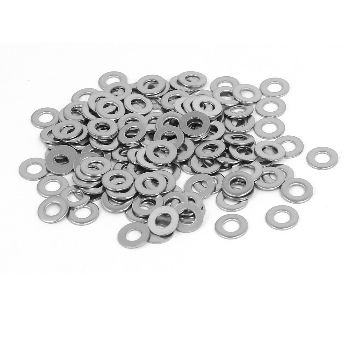 M4 304 Stainless Steel Flat Pads Washers Gaskets Fastener Silver Tone 200PCS