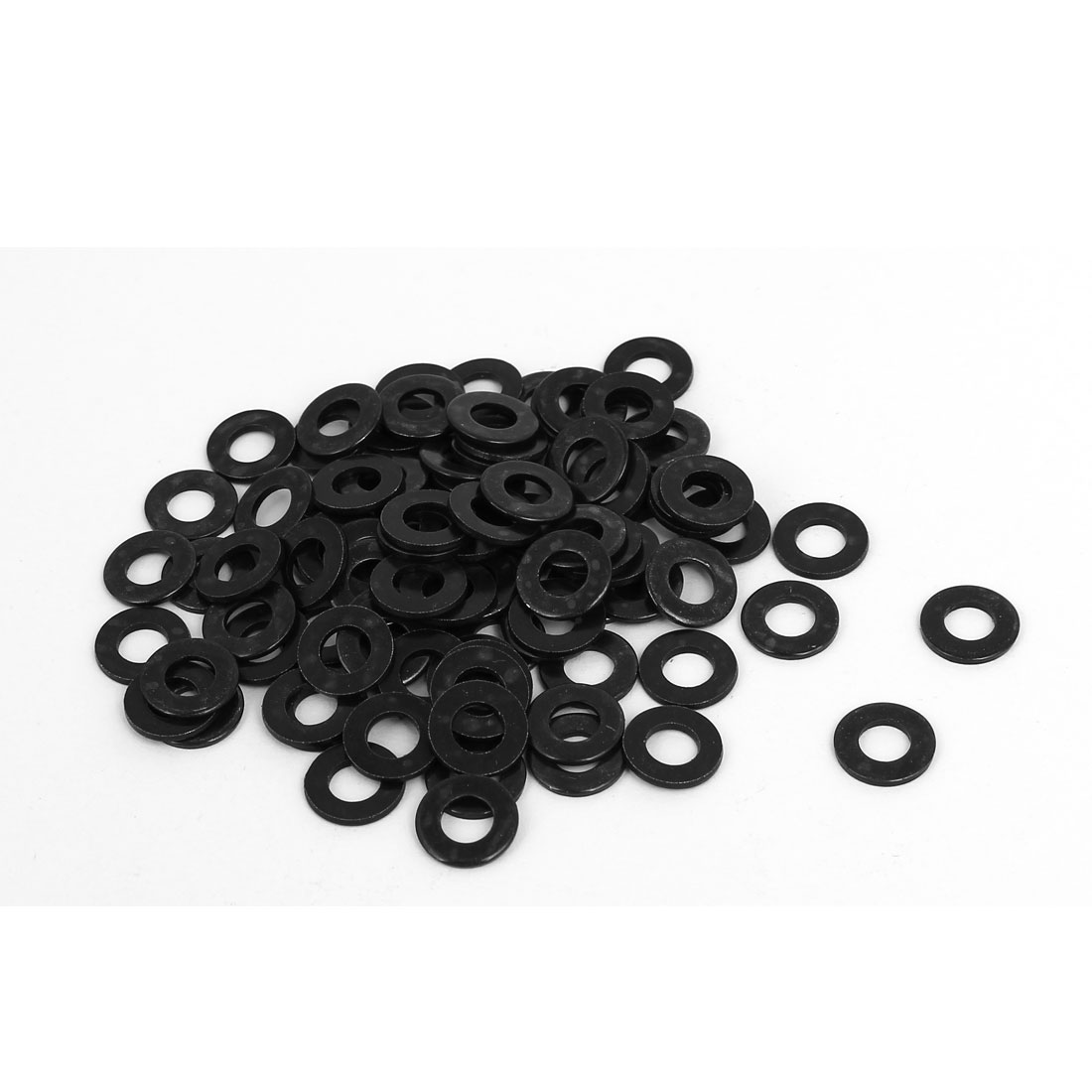 M5 x 10mm x 1mm Black Zinc Plated Flat Washers Gaskets Spacers 100PCS