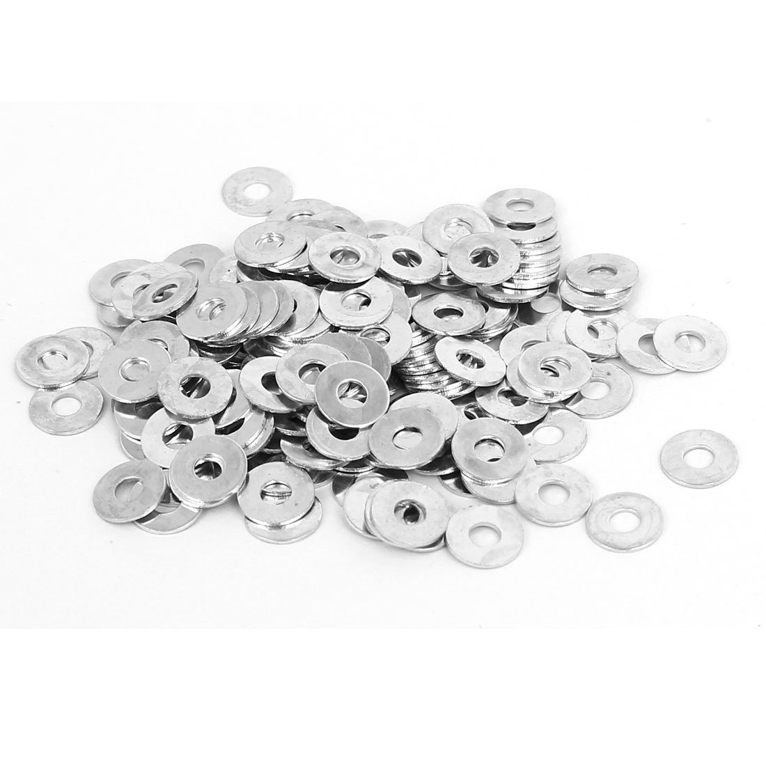 M2.5 x 7mm x 0.5mm White Zinc Plated Flat Washers Spacers Gaskets 200PCS