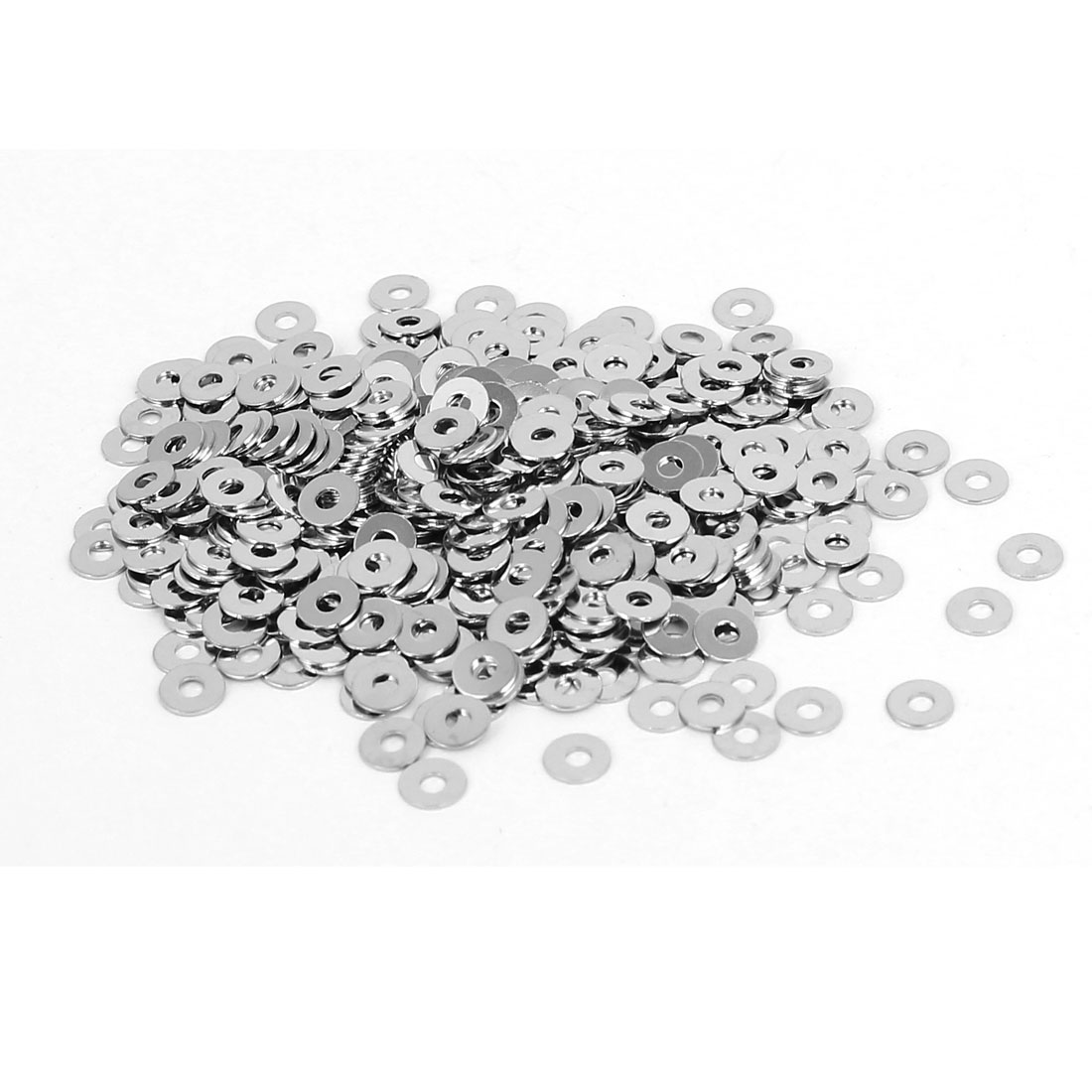 M1.6 x 4mm x 0.3mm Nickel Plated Flat Washers Gaskets Spacers Silver Tone 400PCS