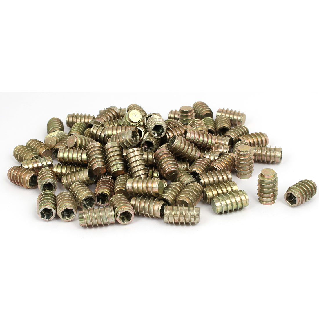 Furniture Zinc Alloy Blind Hole Hex Socket Insert Screws E-Nuts M8x25mm 100pcs
