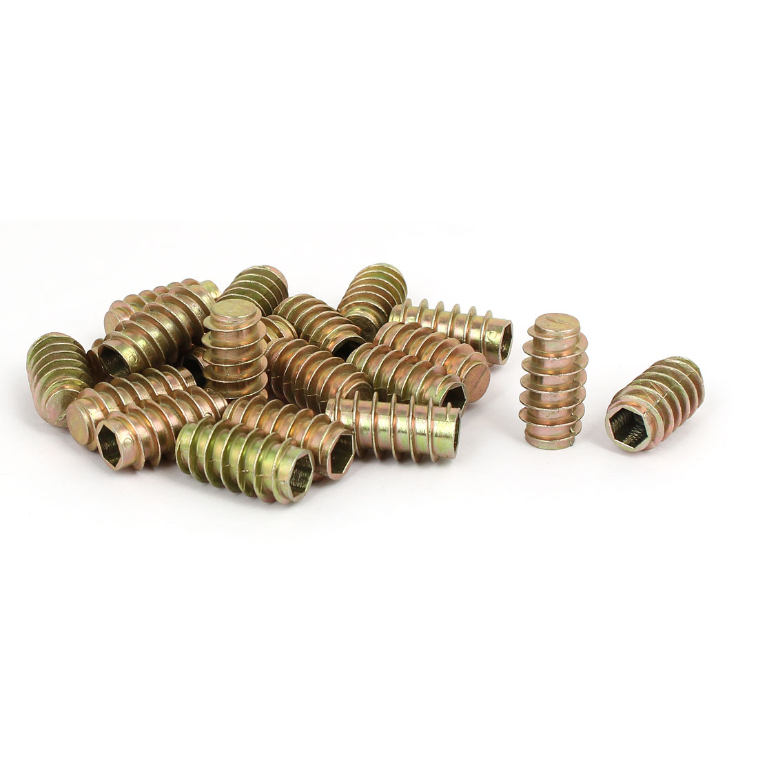 Furniture Zinc Alloy Blind Hole Hex Socket Insert Screws E-Nuts M8x30mm 20pcs