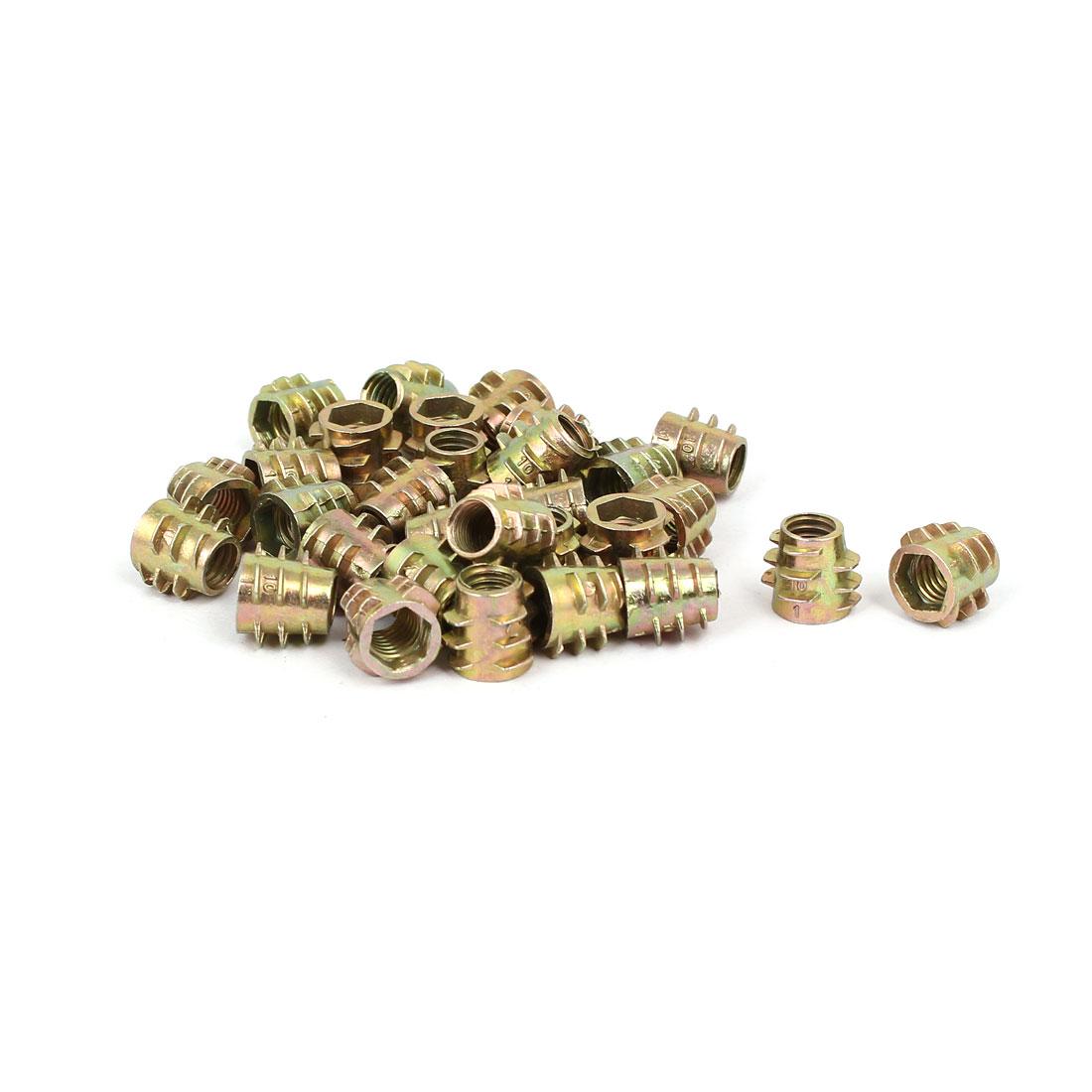 Wood Furniture Zinc Alloy Hex Socket Insert Screws E-Nuts M6x10mm 30pcs