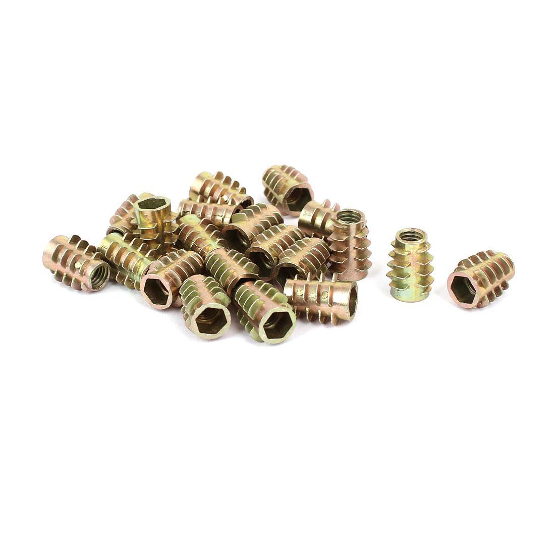 Wood Furniture Zinc Alloy Hex Socket Insert Screws E-Nuts M6x15mm 20pcs