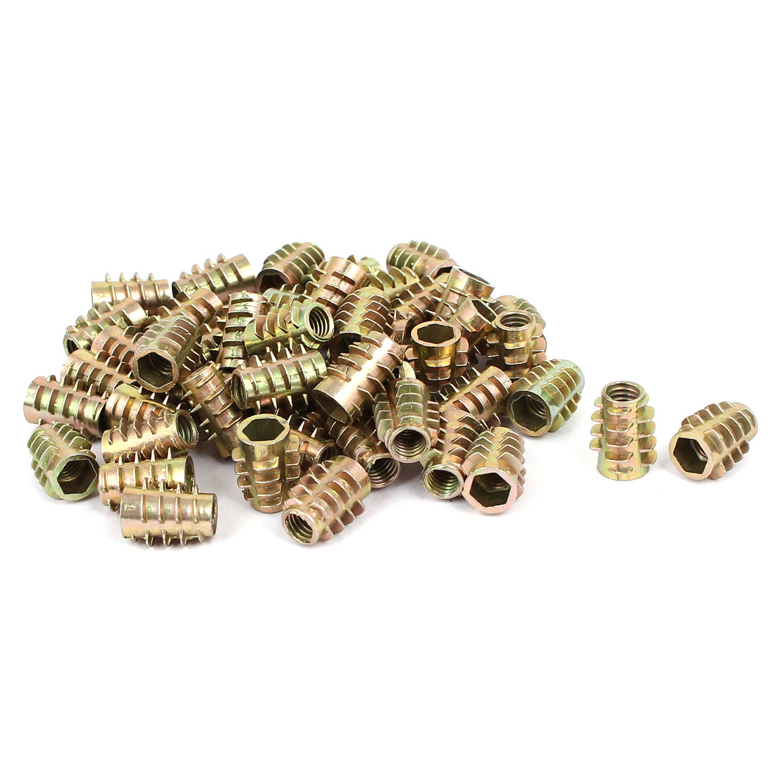 Wood Furniture Zinc Alloy Hex Socket Insert Screws E-Nuts M6x15mm 50pcs